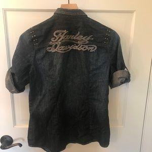 Harley-Davidson Western Denim Shirt, Pre-Owned (M)
